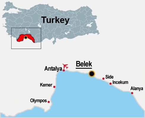 Belek map Turkey