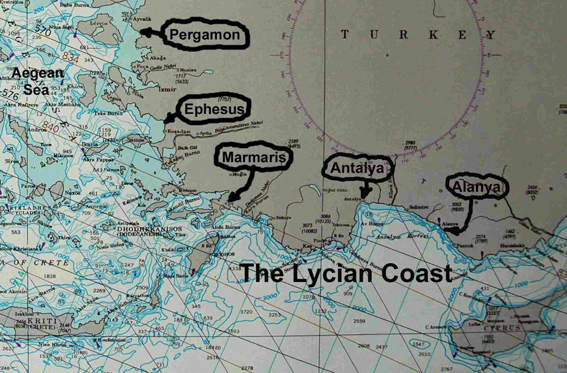 Lycian Coast Map