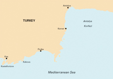 Kas, Turkey map