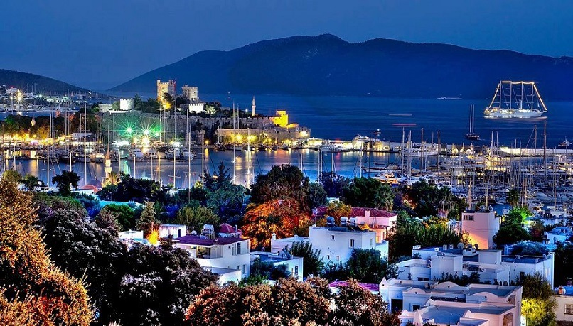 Bodrum Town castle and bay view