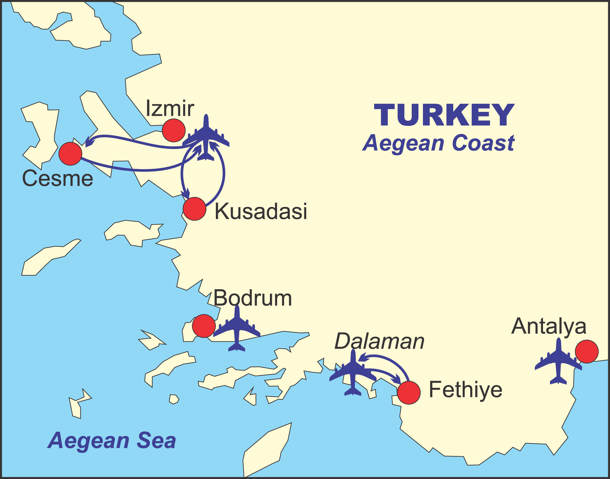Cesme map Turkey