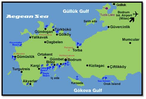 Bodrum Peninsula Map