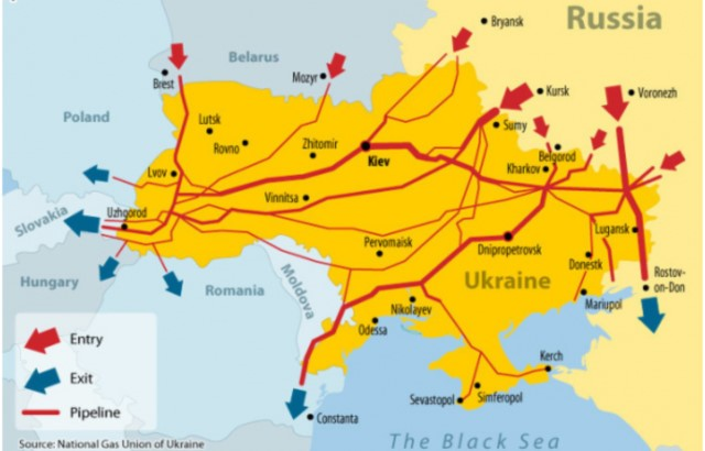 Pipelines through Ukraine and Crimea