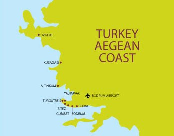 Turkish Aegean Coast map