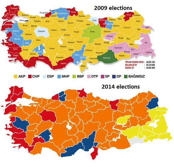 Map Turkey elections 2014 local