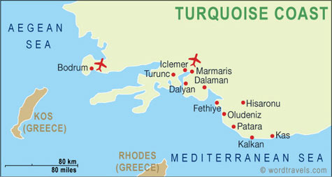 Turkish Turquoise Coast Map