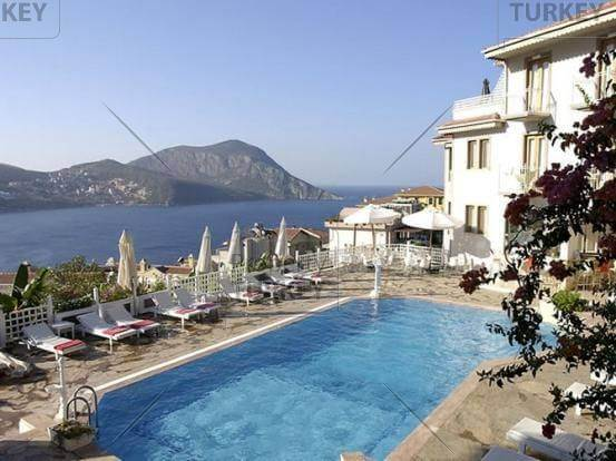 Beautiful hotel for sale in Turkey Kalkan with superb views over the sea