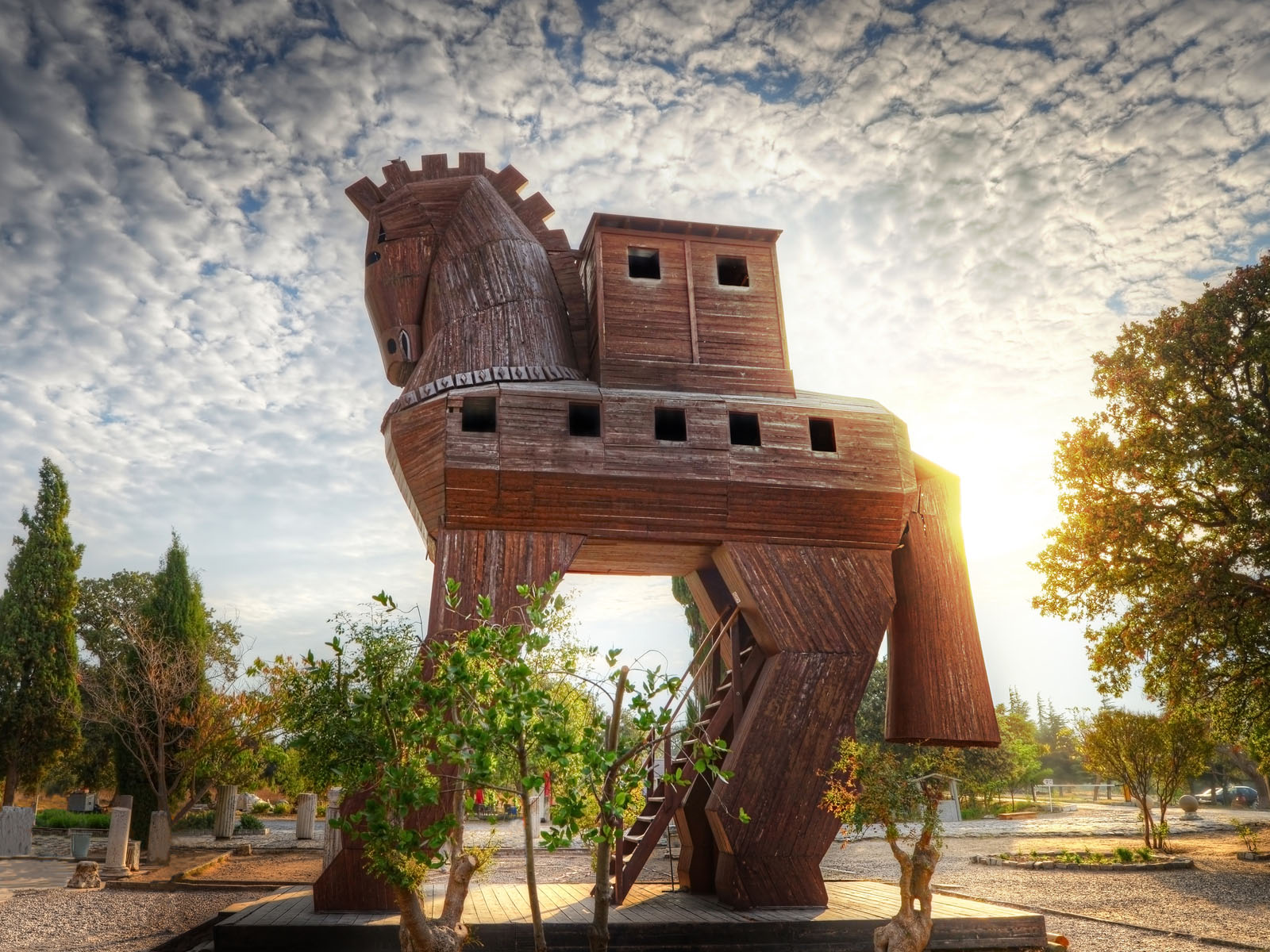 A reconstruction of The Trojan Horse at the site of Troy