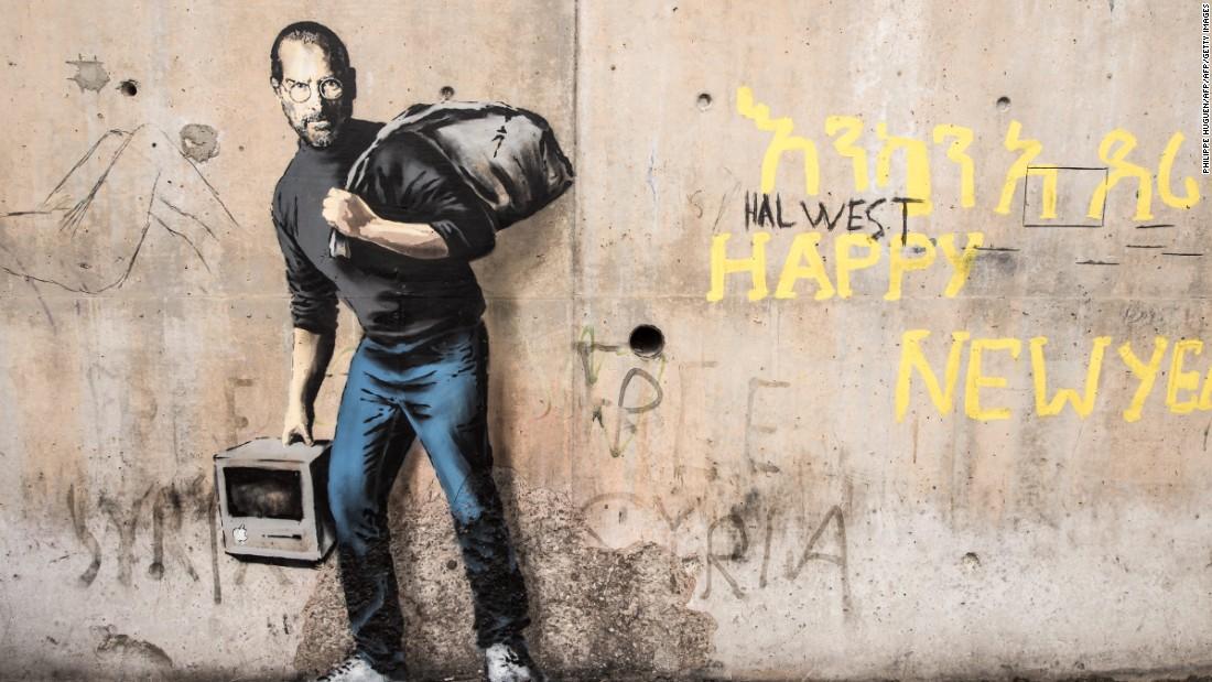Banksy refugee art