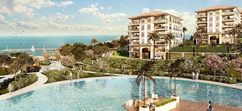 Элитные квартиры с видом на море у Западной Марины Стамбула
