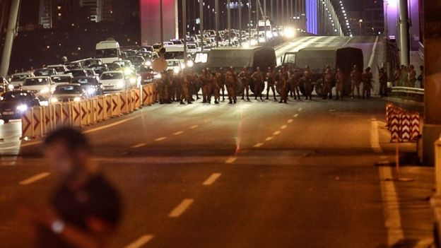 Bosporus Bridge blocked Turkey coup