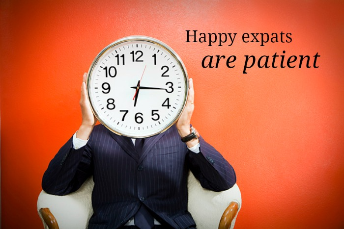 happy expats are patient