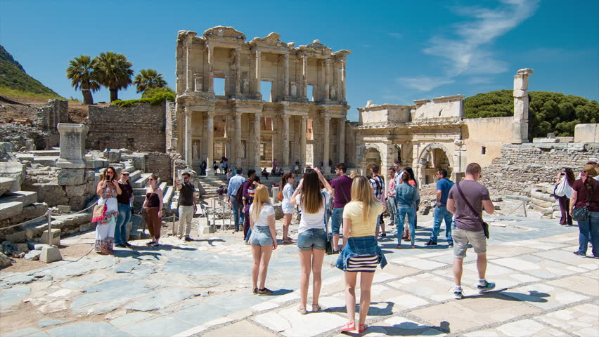 Europeans enjoying the stunning sights of Ephesus, Izmir