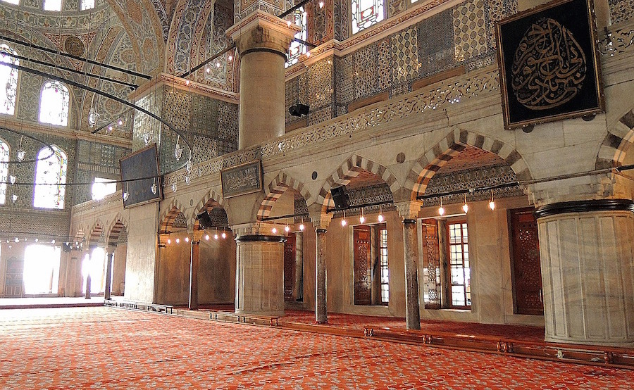 Inside a mosque in Turkey