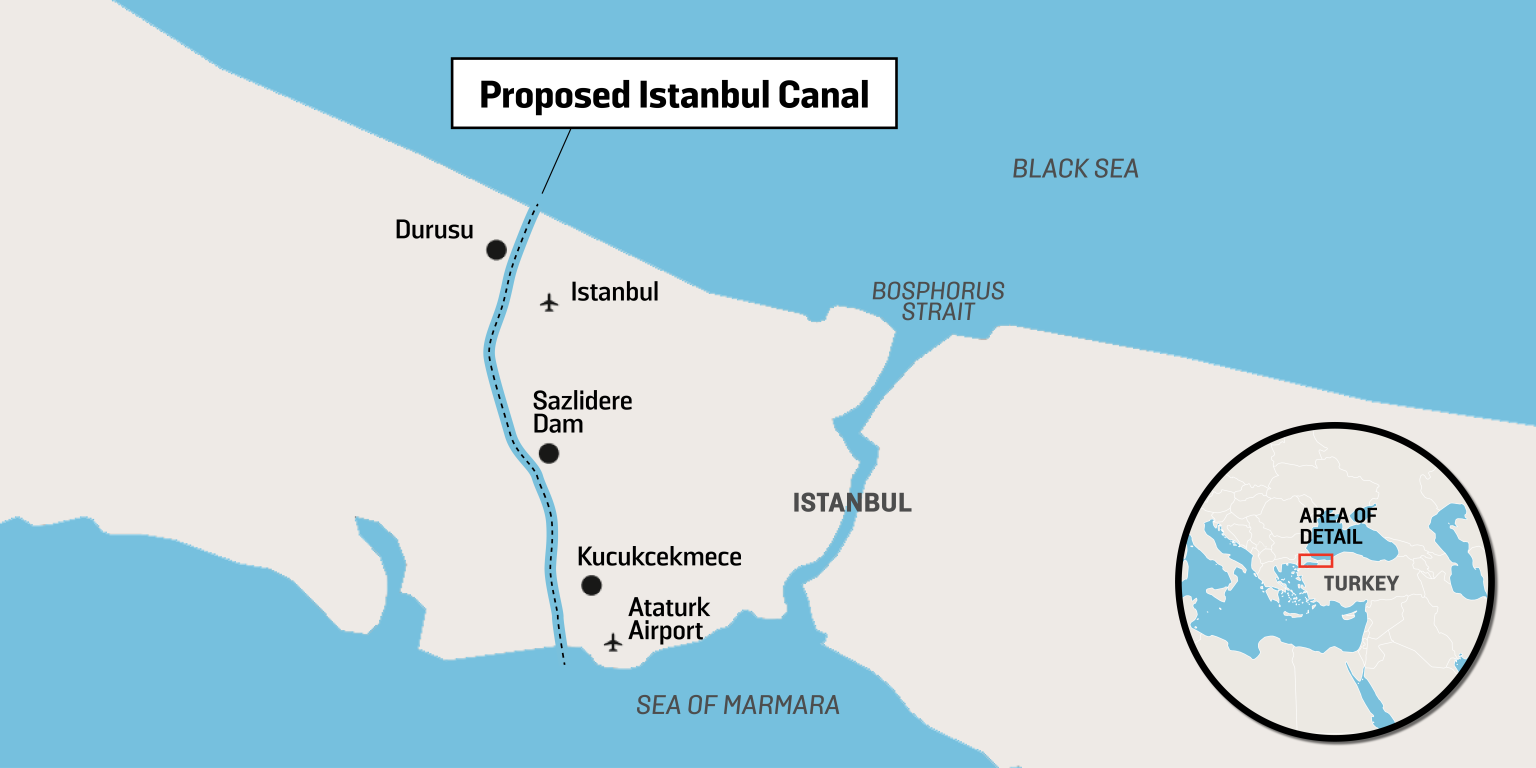 Canal Istanbul map