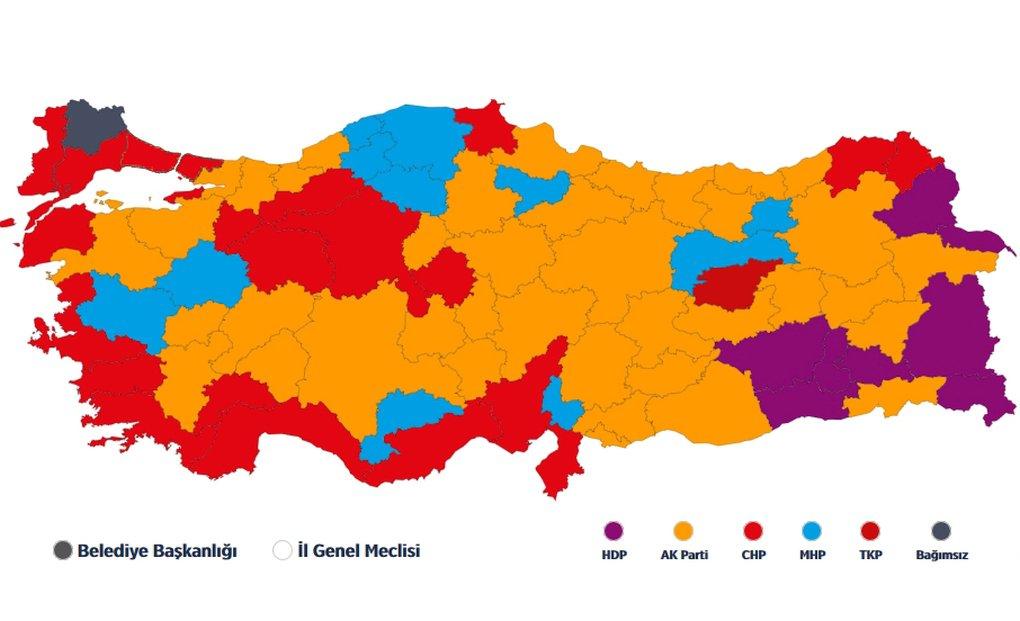 Vote distribution around Turkey