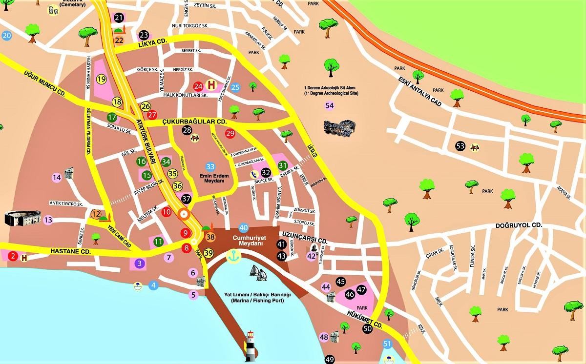 Map of Kas Turkey
