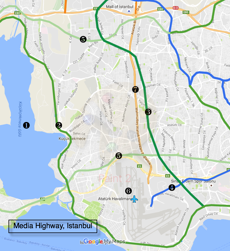 Media Highway map, Basin Ekspress, Istanbul