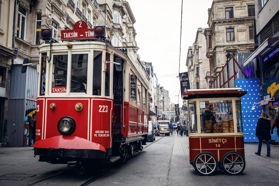 Red tram Istanbul Taksim