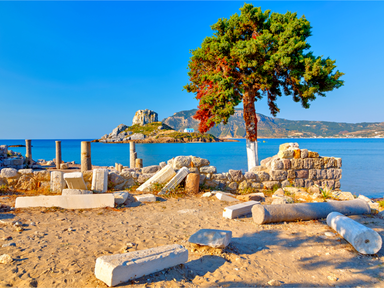 Ancient ruins and beautiful blue waters of Kos, Greece.