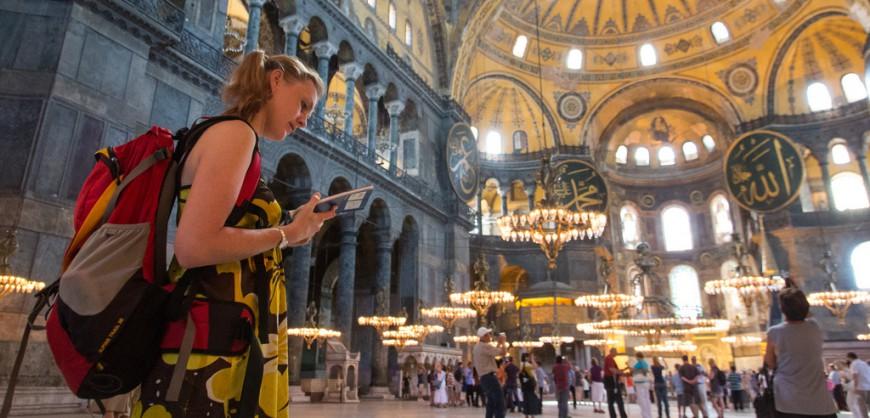 tourist hagia sophia