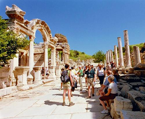 tourists visit Ephesus