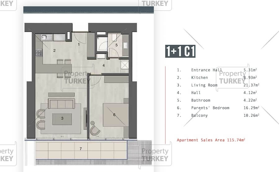 1+1 apartments layout