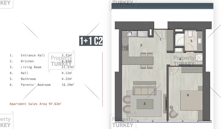 Site plans of the 1+1 apartments
