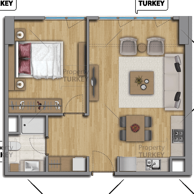 Site plans of the one bedroom and one bathroom apartment