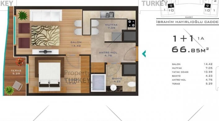 Layout of the 1+1 bedroom apartment
