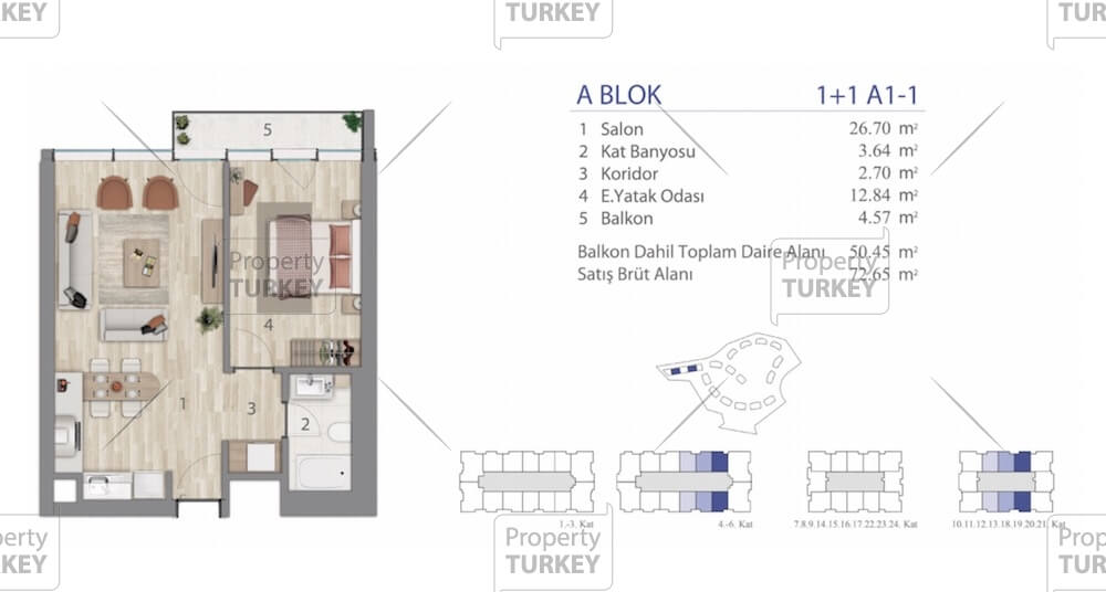 Site plans of the one bedroom apartment