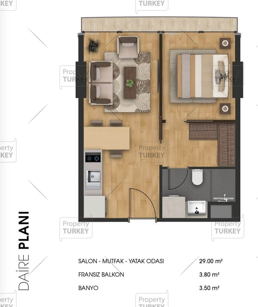 Layout of the 1+1 apartment