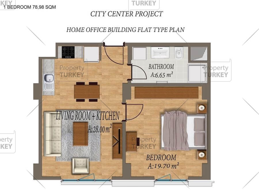 Layout of the 1+1 apartments