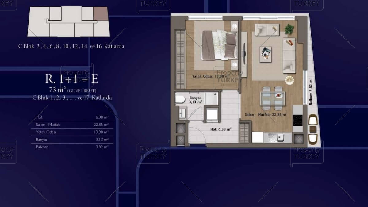 Layout of the 1+1 apartmenst