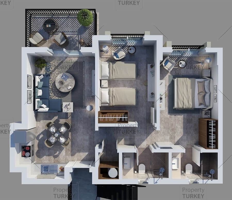 Site plans of the two bedrooms apartments