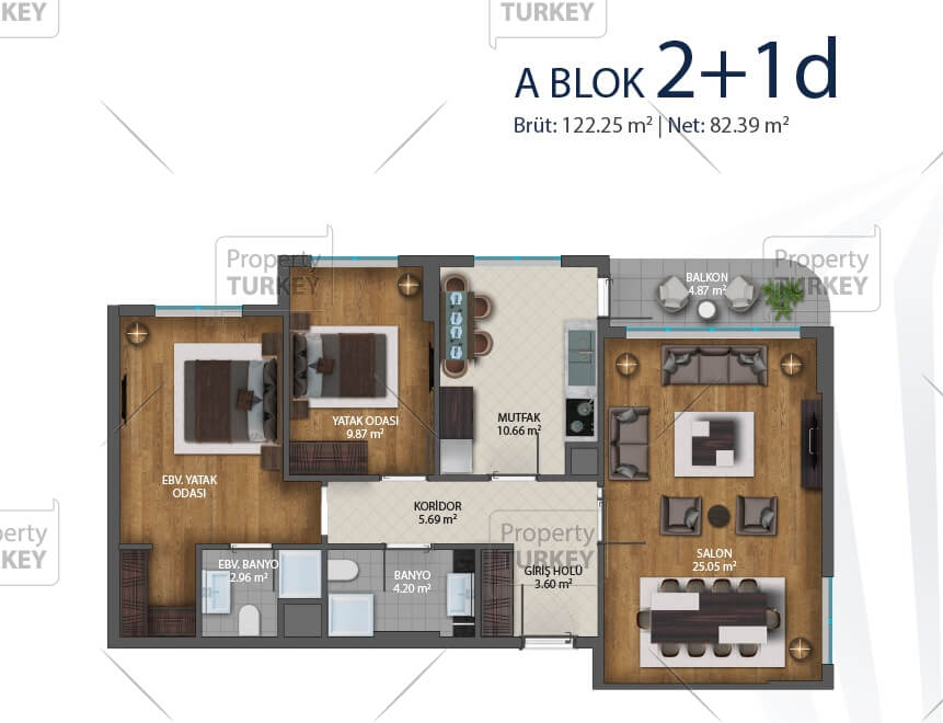 Site plans of the 2+1 apartment