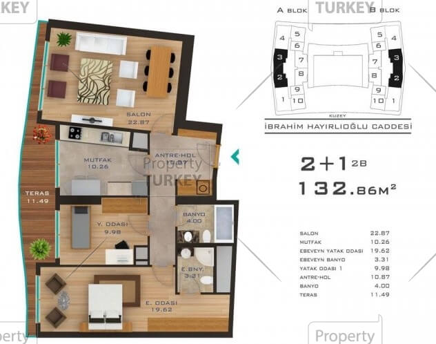 Site plans of the 2+1 bedroom apartment