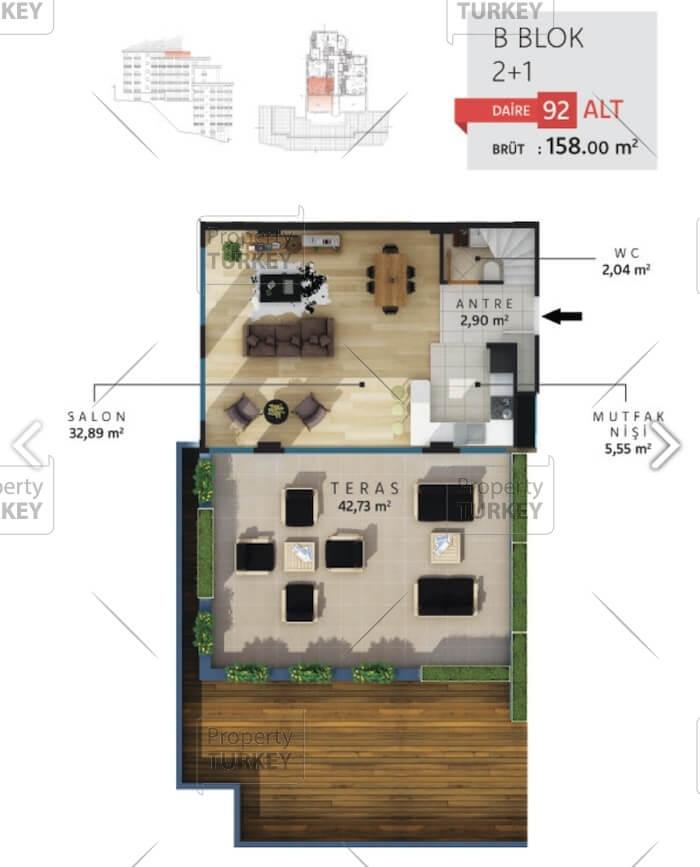 2+1 duplex apartment site plans