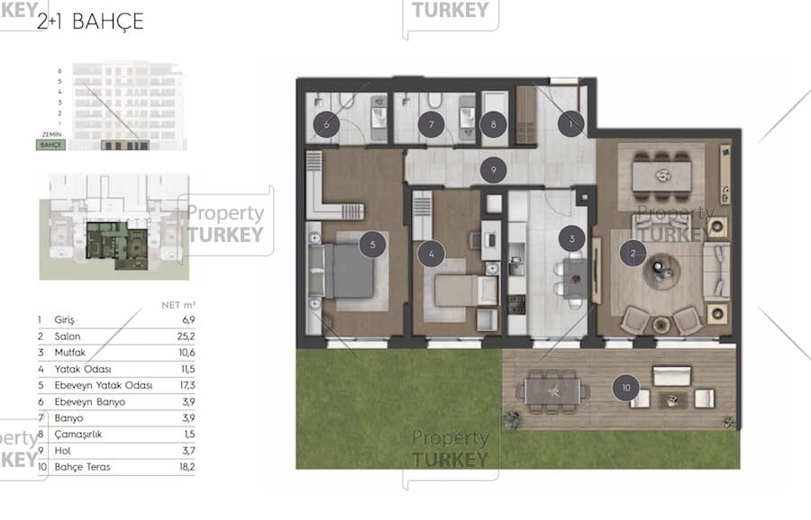 Site plans of the 2+1 apartments