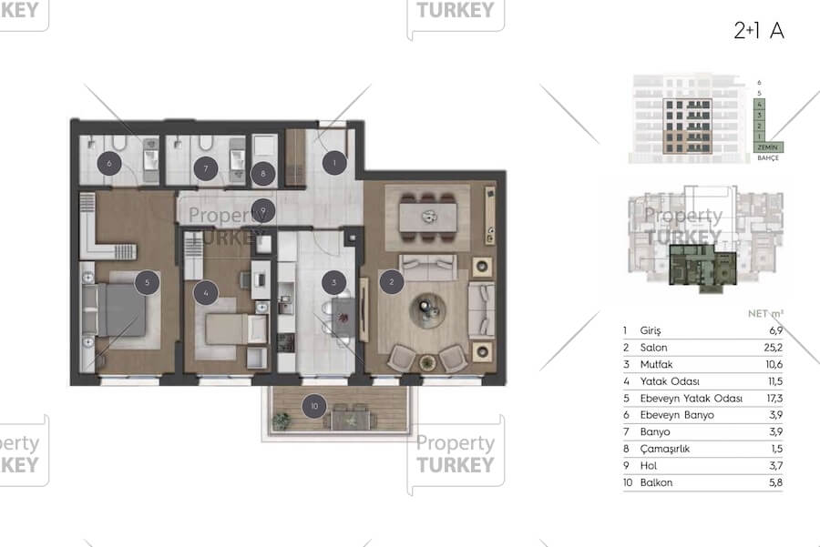 2+1 apartments layout
