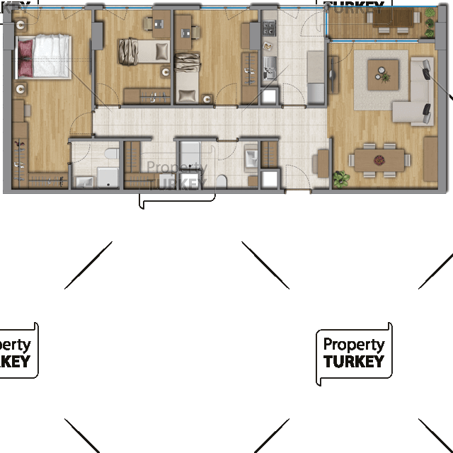 Site plans of the 3+2 apartments