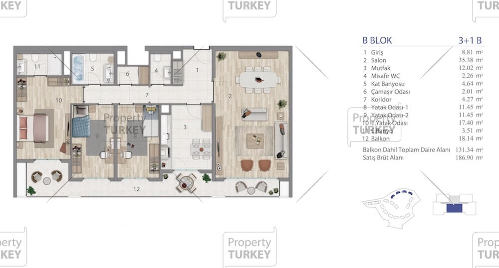 Layout of the three bedrooms apartment