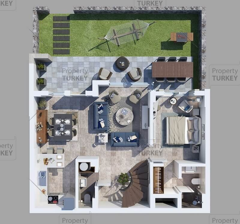 Layout of the 3+1 apartments
