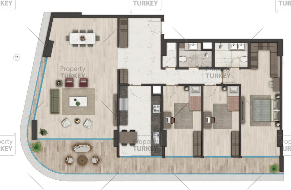 Site plans of the 3 bedrooms apartment