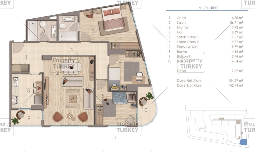 Site plans of the 3+1 apartments