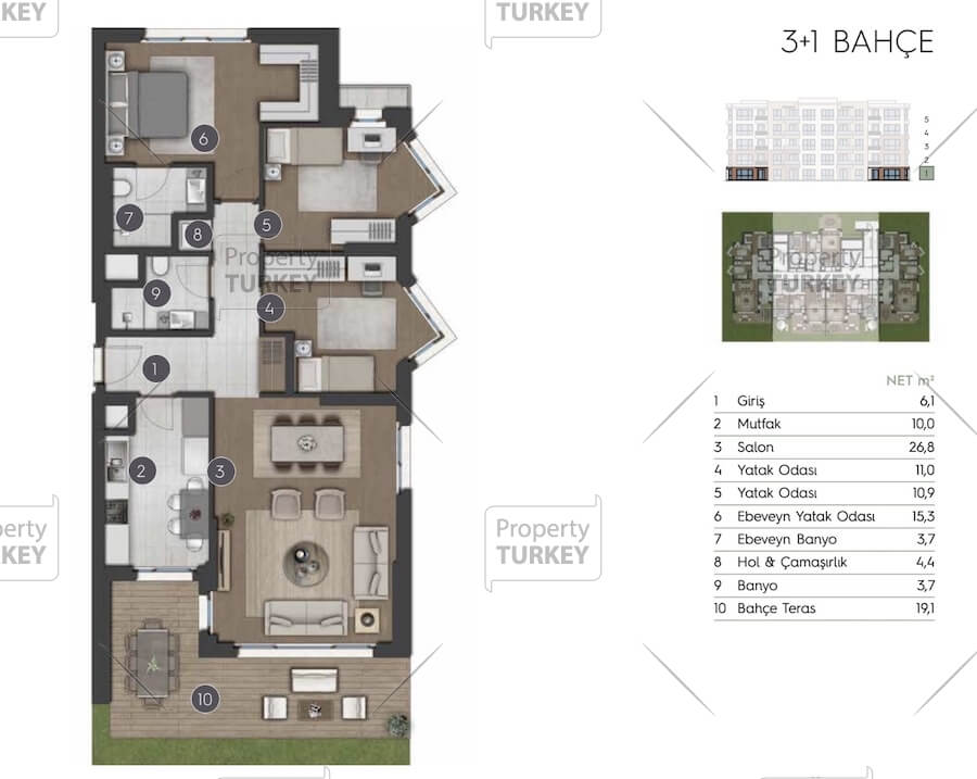 Site plans of the 3+1 villa