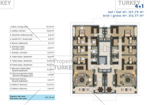 Site plans of the 4+1 apartment