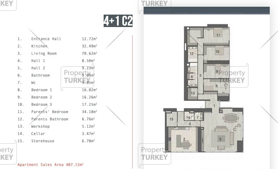 Layout of the 4+1 apartments