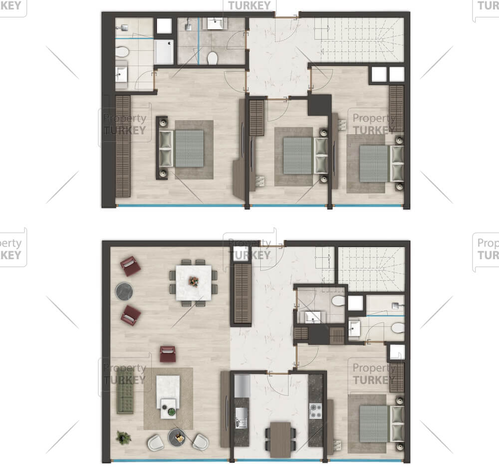 Layout of the 4 bedrooms and 2 floors apartments