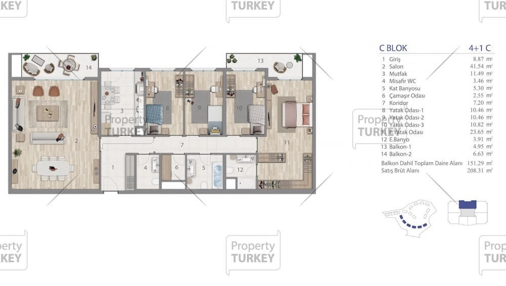 4+1 apartments layout